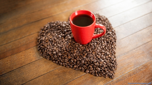 Coffee Beans, Shape, Heart, Heart Shape, Heart By Coffee Beans, Mug On Beans, Mug, Coffee, Coffee Mug, Coffee Mug On Heart Shape of Coffee Beans, Valentine